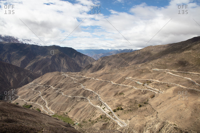 The famous Nu Jiang 72 Turns winding road along the Sichuan-Tibet Highway