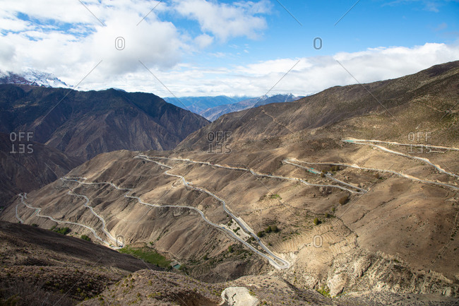 View overlooking the Nu Jiang 72 Turns winding road along the Sichuan-Tibet Highway
