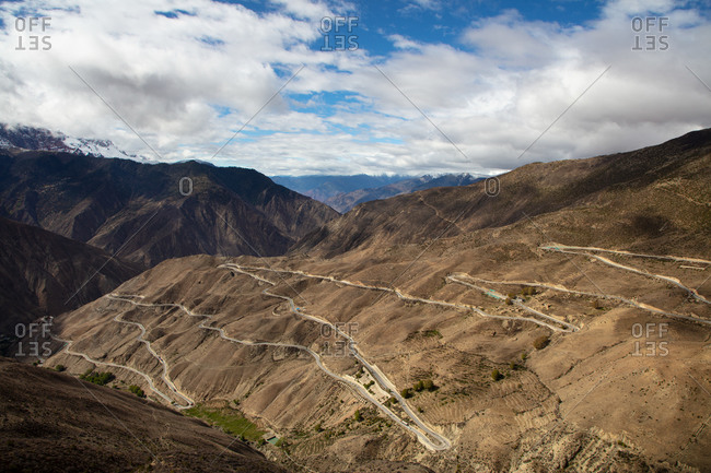 The winding road known as Nu Jiang 72 Turns along the Sichuan-Tibet Highway