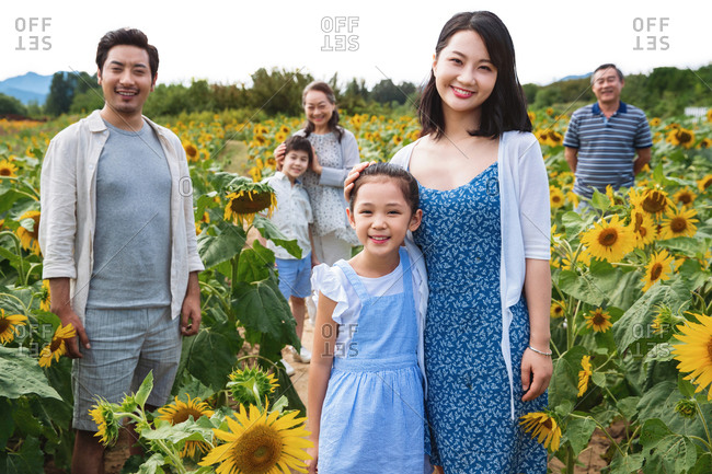 Beautiful Asian multi-generational family standing in a field of sunflowers