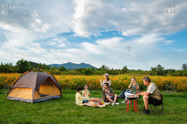 Happy family enjoying a picnic together on a camping trip in the countryside