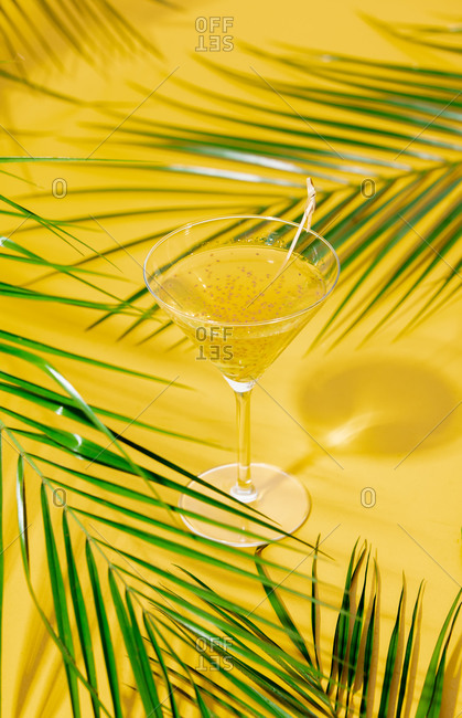 Glass with tropical cocktail and palm leaves around