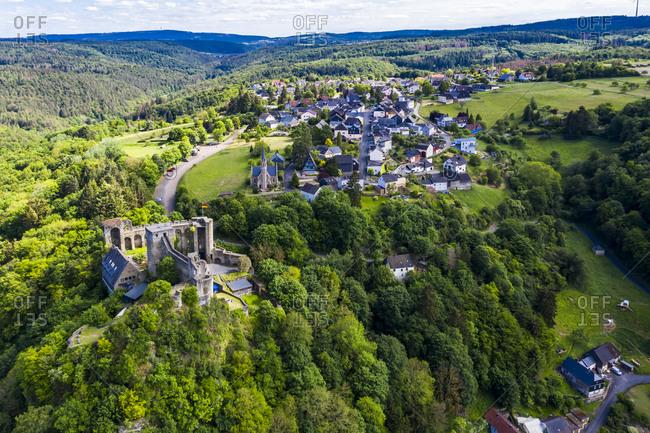 Scenic view of Burg Hohenstein- Bad Schwalbach- Rheingau-Taunus-Kreis- Hesse- Germany