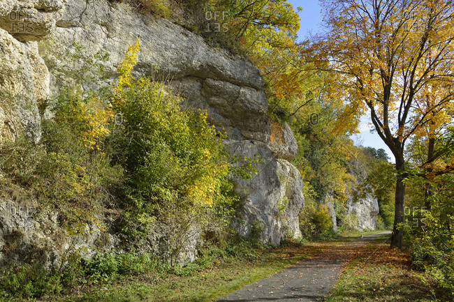 Empty footpath in Danube Valley during autumn
