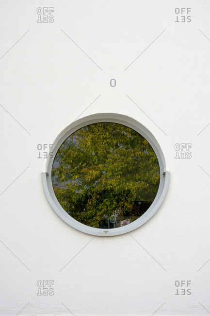 Tree reflecting in round window
