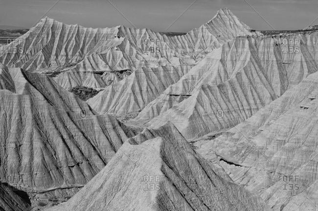 Eroded landscape of Bardenas Reales desert- Spain