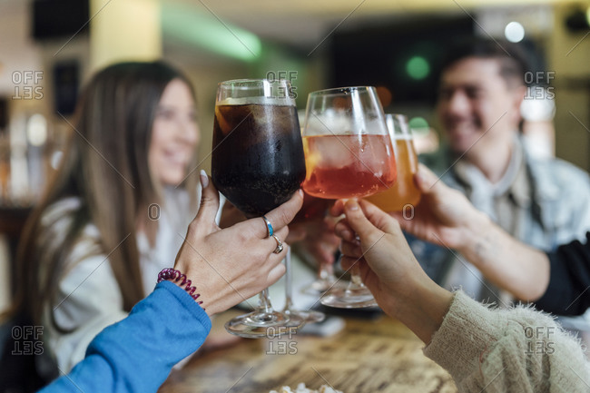 Friends toasting drink over table in bar