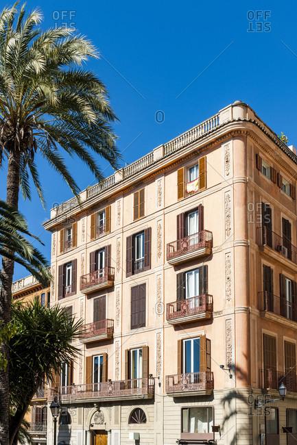 Spain- Mallorca- Palma de Mallorca- Balconies of residential city building