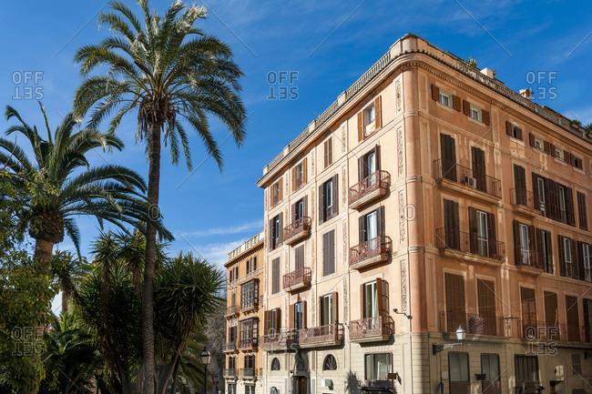 Spain- Mallorca- Palma de Mallorca- Palm trees in front of residential city building