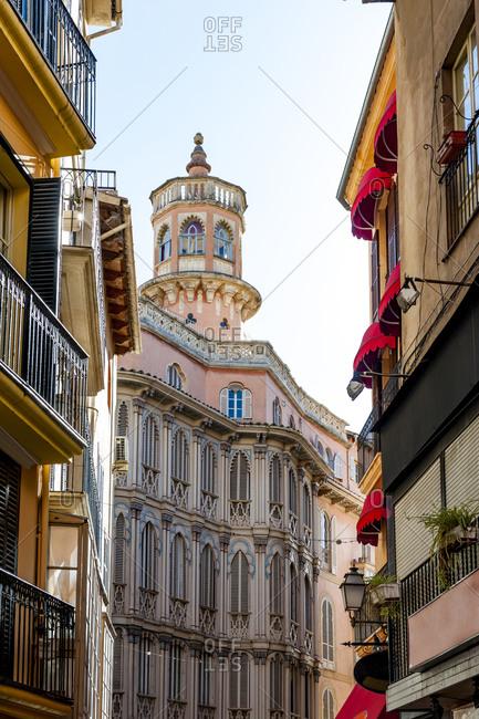 Spain- Mallorca- Palma de Mallorca- Pink exterior of Can Corbella building
