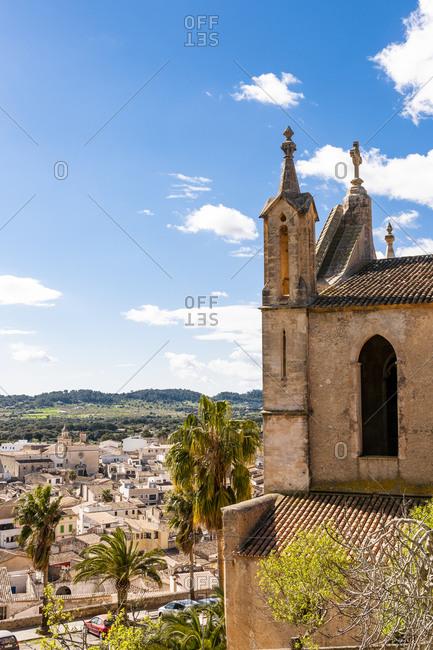 Spain- Mallorca- Arta- Old church overlooking town below