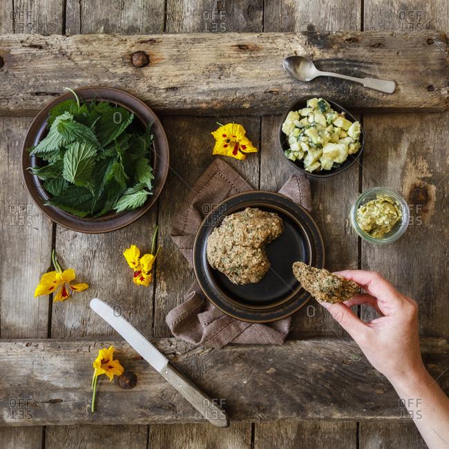 Potato salad- fresh nettle- herb butter and yellow flower heads