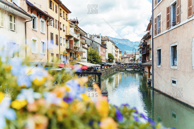July 11, 2020: Old city center with river and mountains at Annecy- France