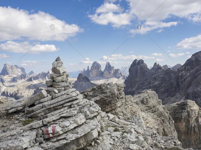 Cairn in Sexten Dolomites with Tre Cime di Lavaredo in background