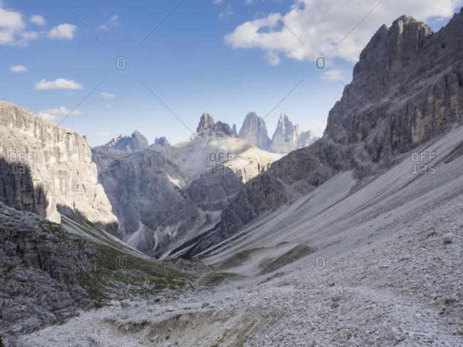 Scenic view of valley in Sexten Dolomites with Tre Cime di Lavaredo in background