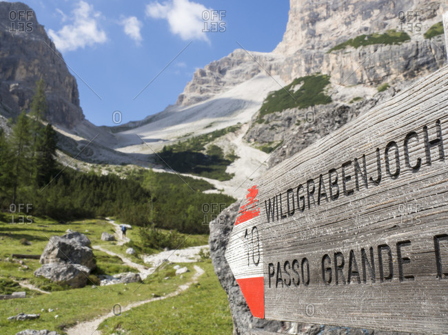 Directional sign in Sexten Dolomites