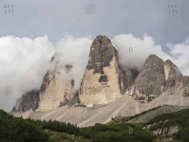 Scenic view of Tre Cime di Lavaredo in Sexten Dolomites
