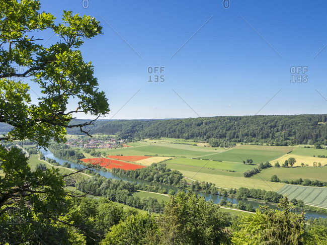 Germany- Bavaria- Clear sky over countryside fields of Altmuhltal