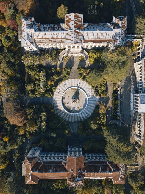 December 5, 2020: Russia- Krasnodar Krai- Sochi- Aerial view of courtyard of abandoned Sanatorium Ordzhonikidze