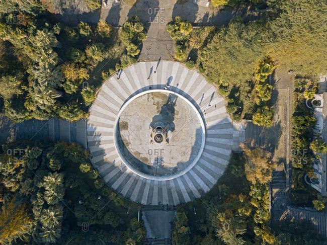 December 5, 2020: Russia- Krasnodar Krai- Sochi- Aerial view of fountain of abandoned Sanatorium Ordzhonikidze