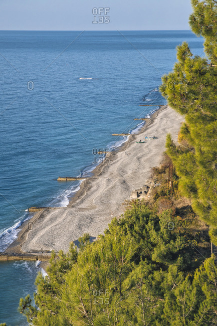 Sandy coastal beach of Black Sea