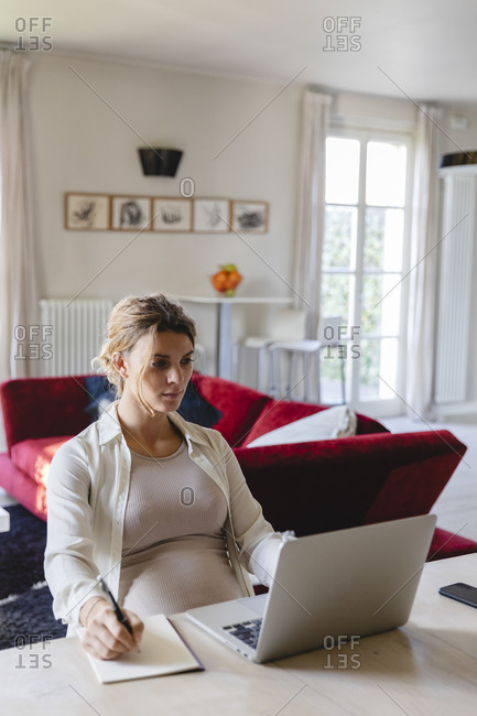 Female freelancer writing in book while using laptop at desk in living room