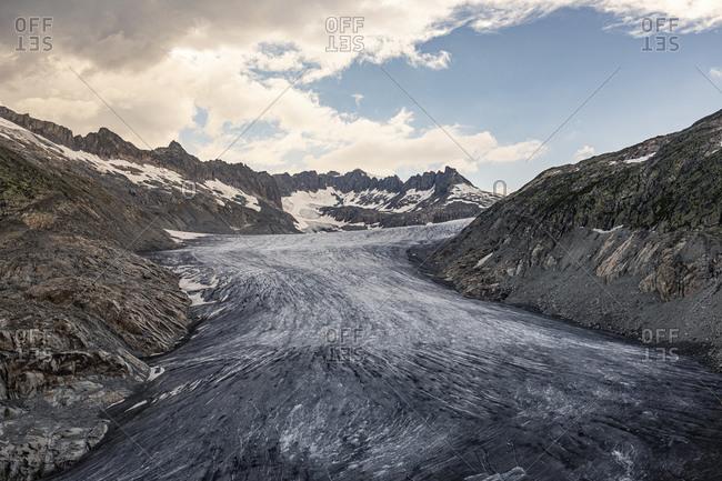 Switzerland- Valais- Obergoms- Rhone Glacier and mountains