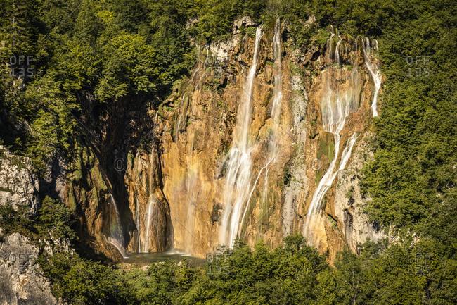 Waterfalls in rocky landscape outdoors