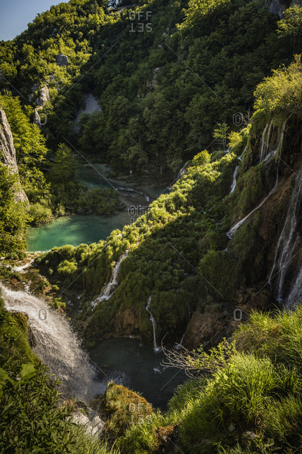 Waterfalls in mountain landscape overview