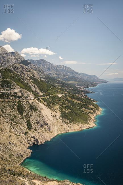 Rocky sea coast overview shot