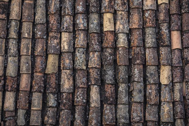 Old roof tiles detailed shot