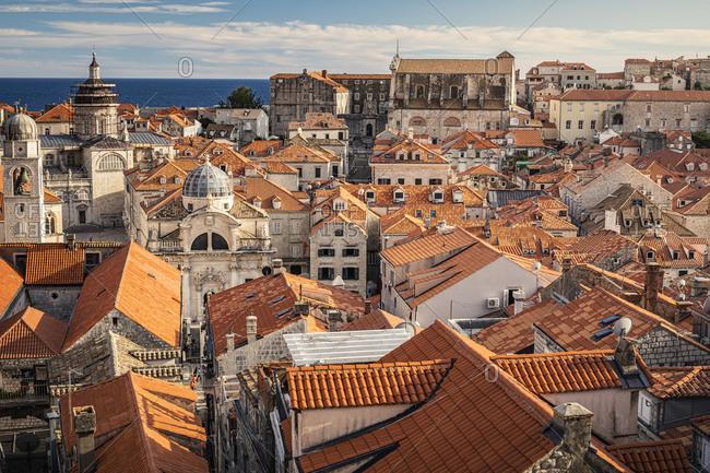 Croatia- Dubrovnik- Old town buildings with orange rooftops