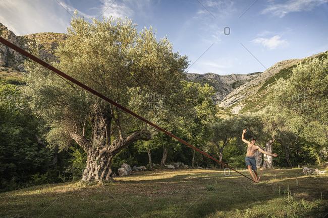 Man walking on slackline between old olive trees in landscape