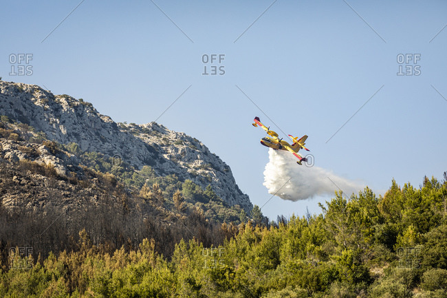Firefighting airplane pouring water on forest