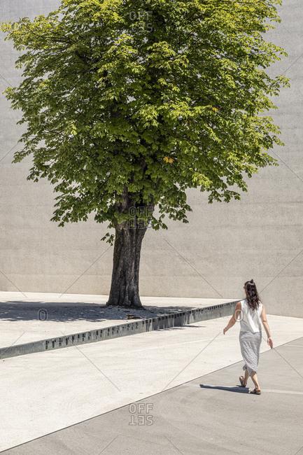 Slovenia- Ljubljana- Monument to the Victims of All Wars (Spomenik rtvam vseh vojn)- Woman walking near tree on town square
