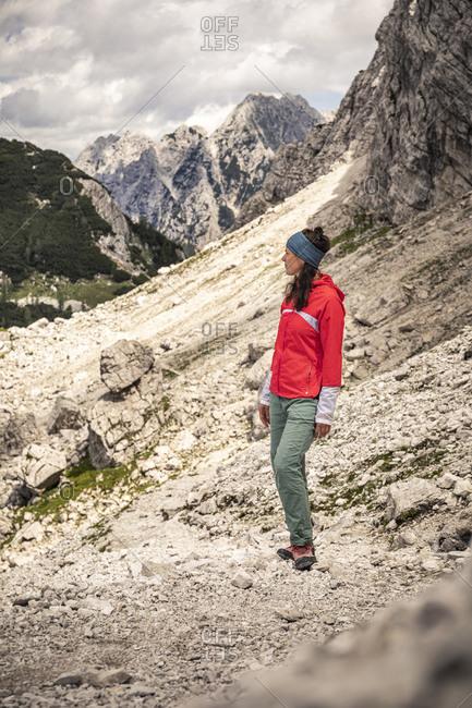 Woman in mountain landscape park