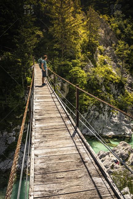 Man standing on footbridge in landscape