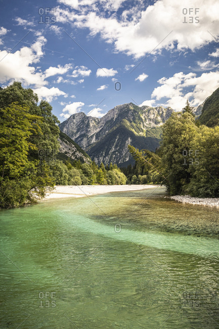 Turquoise river in mountain landscape