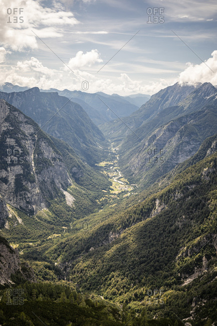 Valley in mountain landscape overview