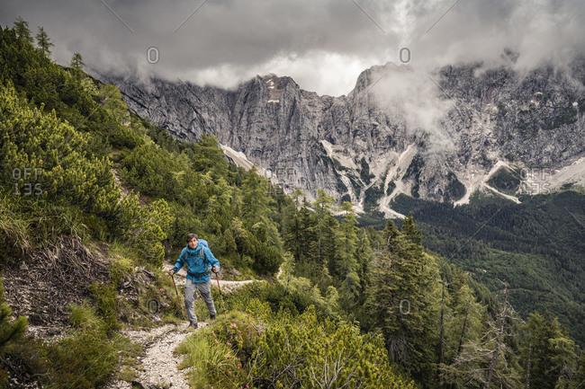 Man hiking in mountain landscape