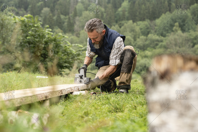 Carpenter sawing plank with circular saw