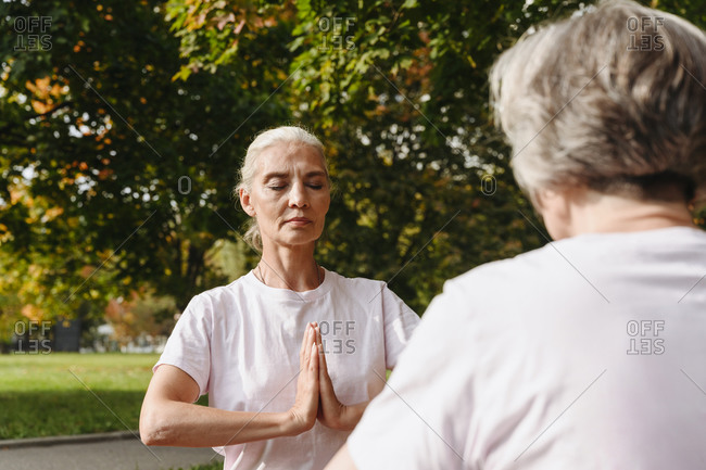 Female friends doing yoga with eyes closed in public park on sunny day