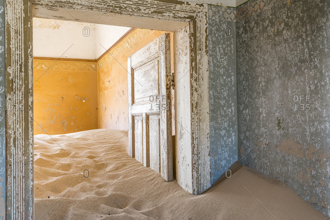 The interior of a building in the abandoned diamond mining ghost town of Kolmanskop