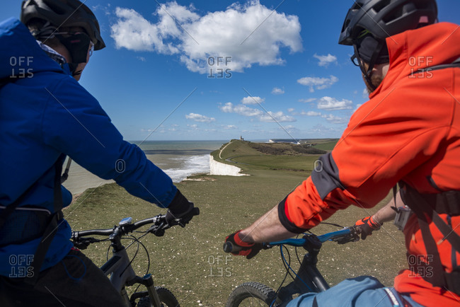 Mountain biking along the South Downs way near Beachy Head