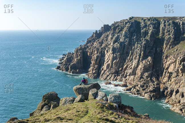Dramatic Cornish coastline near Land's End at the westernmost part of the British Isles