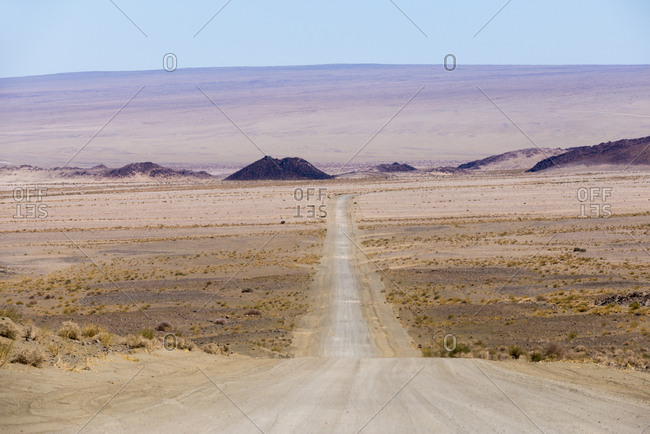 A long dusty road in southern Namibia