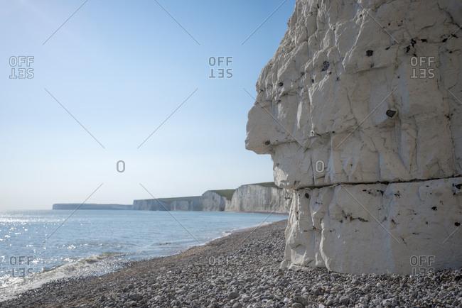White chalk cliffs near Beachy Head on the south coast of Britain
