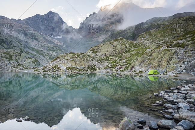 Camped by Lac Blanc on the Tour du Mont Blanc trekking route in the French Alps