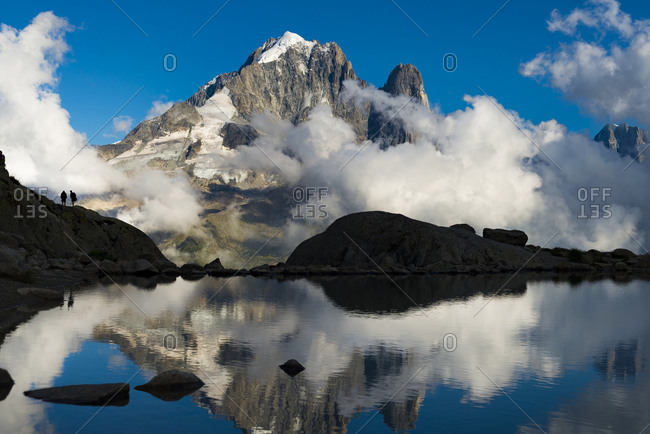 Reflection in Lac Blanc on the Tour du Mont Blanc trekking route in the French Alps