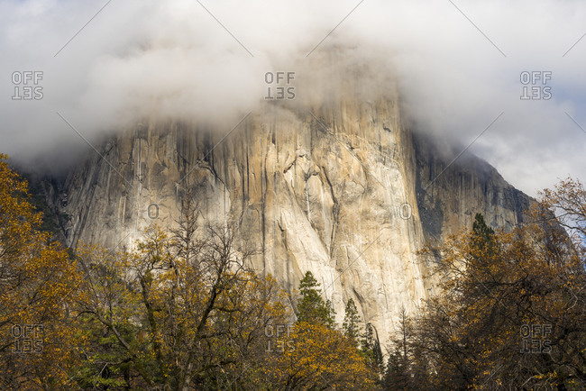The sheer face of El Capitan partly covered by cloud in Autumn colors